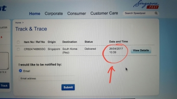 The time when my parcel was successfully delivered to Taenggu in Korea