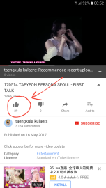 Number of likes on a Taeyeon fancam of her Persona concert in Seoul