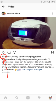 39 views on my video featuring my new cd player which was playing Taenggu's UR