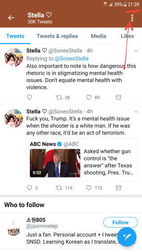 The english translator for SNSD related stuff was ranting on her twitter about Trump and mental health issues and I saw these tweets at 21:39.