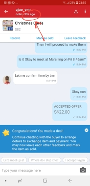 Made a deal with my Carousell buyer who was online 39 seconds ago