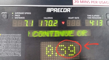 My friend Yan Hao actually sent me a photo of herself at the gym and her treadmill machine was showing the number '39' but she herself was unaware of it