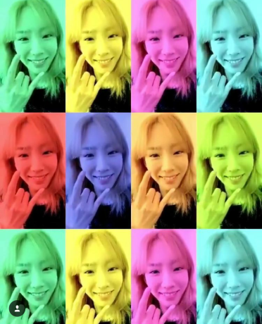 Taeyeon doing love hand sign