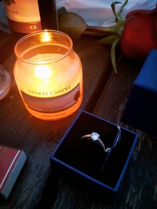 Yankee candle and a Swarovski ring